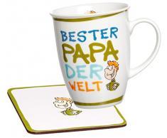 Ritzenhoff & Breker Kaffeebecher Bester Papa der Welt mit Untersetzer im Geschenkkarton, Geschenk-Set, 2-teilig