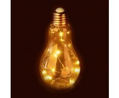 Relaxdays, transparent Glühbirne, Tischleuchte, batteriebetriebene LED-Deko, Glas-Glühlampe mit Lichterkette, 1 Stück