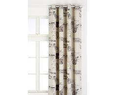 Linder 0551/49798/29/375FR Vorhang, bedruckt mit Flugzeug, ecru, mit Ösen, 145 x 260 cm