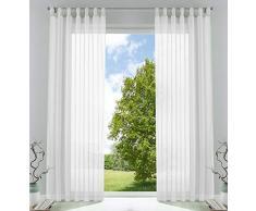 2er-Pack Gardinen Transparent Vorhang Set Wohnzimmer Voile Schlaufenschal mit Bleibandabschluß HxB 245x140 cm Weiß, 61000CN