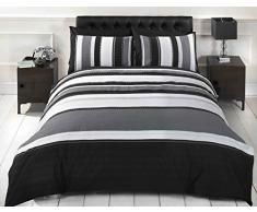 Signature Gestreifter Bettbezug und 2 Kissenbezüge in grau; Bettwäsche-Set für Doppelbett, für Erwachsene&Jugendliche
