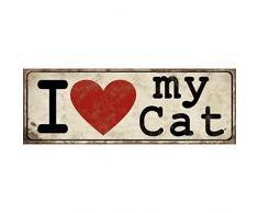 Xavax Schild I love my cat, 39 x 14 cm, Vintage Blechschild mit Spruch, Katze Dekoschild, beige