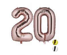 Relaxdays Folienballon 20, Deko für Geburtstag, Jubiläum, Hochzeitstag, 85-100 cm, XXL Zahlen Luftballon, roségold, H x B x T: ca. 85 x 50 x 17 cm