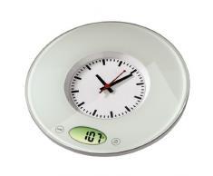 Xavax digitale Küchenwaage Pauline mit Uhr als Wiegefläche, geeignet zur Wandbefestigung, transparent