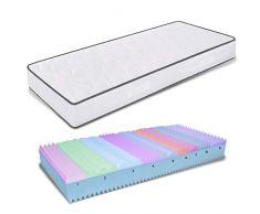 miasuite - Matratze Memory Einzelbett 80 x 190 hoch 25 cm Orthopädisch mit Medizinprodukt, mit Platte aus Memory Foam 6 cm bis 9 Zonen und Platte aus Waterfoam 18 cm Allergie Bezug Milben und atmungsaktiv, Matratze Single