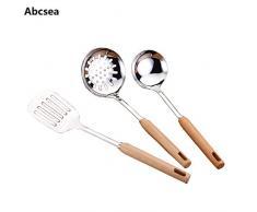 Abcsea 3 stück Kochbesteck Edelstahl Kochset, kochlöffel Set Servierlöffel Edelstahl, Edelstahl Küchenspatel, küche Wender, geschlitzter Löffel, Küchenhelfer-Set (Gruppe 2)
