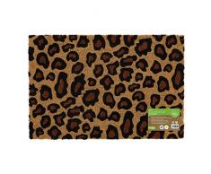 JVL Umweltfreundliche Fußmatte mit Latex-Rückseite, Kokosfaser, Leopardenmuster, braun, Einheitsgröße