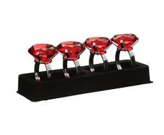 Premier Housewares Serviettenringe, 4er Set, roter Diamante, verchromt