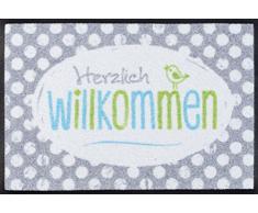 wash + dry 083009 Happy Willkommen Fußmatte, Acryl, grau, 60 x 40 x 0.7 cm