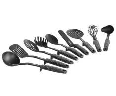 STONELINE 9-teiliges Set im typischen Design, mit praktischer Stütze, geeignet für antihaftbeschichtes Koch-und Backgeschirr Küchenhelfer, Kunststoff, Schwarz, 9-TLG