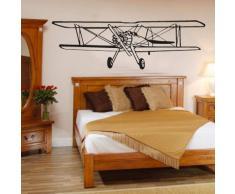 INDIGOS WG30372-35 Wandtattoo w372 Doppeldecker Flugzeug Flieger Wandaufkleber 120 x 38 cm, orange
