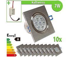 LEDVero 10x LED Einbaustrahler Einbauleuchte 7 W 10-er Set quadratisch, kaltweiss EBL47