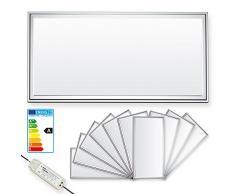 LEDVero 10er Set 30x60cm Ultraslim LED Panel dimmbar 20W, 1600lm, 4500K Deckenleuchte mit Befestigungsclips und EMV2016 Trafo -Neutralweiß- Energieklasse A