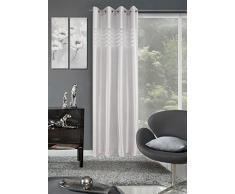 Eurofirany, Ösenschal Navia, Silber, 140x250, gestreift Vorhang, 100% Polyester, 0.02 x 140 x 250 cm