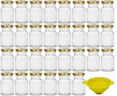 Viva Haushaltswaren 30 x Gewürzgläser/Einmachgläser 150 ml mit goldfarbenem Verschluss, runde Twist off Gläser als Marmeladengläser, Glasdosen & Vorratsdosen verwendbar (inkl. Einfülltrichter)