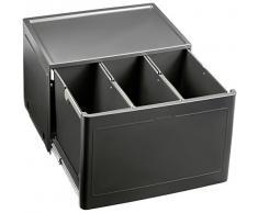 Blanco Botton Pro 60/3 Automatic, Müllsystem für die Abfalltrennung in der Küche, mit 3 Mülleimern (je 13 l) und Türmitnehmer, zur Boden-Montage im 60 cm-Unterschrank; 517470