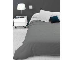 Soleil docre Adele, Tagesdecke, Sofa-Überwurf, Polycotton, Grau, 220 x 240 cm