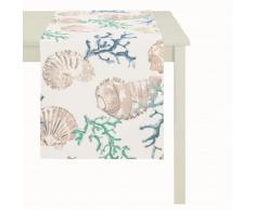 APELT 4056_48x140_10 Tischläufer Digitaldruck Koralle / Muschel circa 48 x 140 cm, blau / weiß
