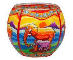Himmlische Düfte Geschenkartikel CC215 Tischdekoration, Elefants Windlicht Glas 11 x 11 x 9 cm, bunt