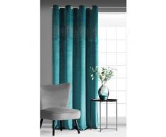EUROFIRANY Vorhang Velvet Samt Türkis Grün Blau mit Kristallen und Metallösen 140x250 cm 1 Stk. Glänzend Weich Blickdicht Glamour Klassisch Wohnzimmer Schlafzimmer