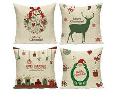 Gspirit 4 Stück Überwurf Kissenbezug Weihnachten Deko quadratisch Kissenbezug Couch Baumwolle Leinen für Wohnzimmer Sofa Bett mit unsichtbarem Reißverschluss 45,7 x 45,7 cm Set 3