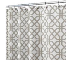 InterDesign Trellis Textil Duschvorhang | Duschabtrennung für Badewanne und Duschwanne mit Spalier-Motiv | 180 cm x 200 cm Vorhang aus Stoff | Polyester grau