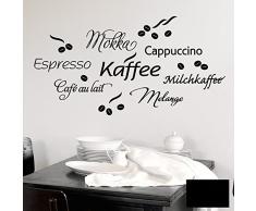 Grandora Wandtattoo Kaffee Coffee Kaffeetasse I schwarz I Küche Esszimmer selbstklebend Aufkleber Kaffeebohnen Wandaufkleber Wandsticker 1075W