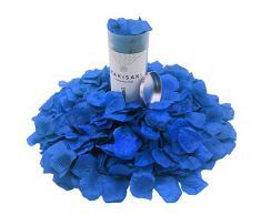 (Getrennt, Desodoriert) Künstliche gefälschte Rosenblätter für Romantische Nacht, Hochzeit, Event, Party, Dekoration, in loser Schüttung (1000 Stücke, Ägyptisches Blau)