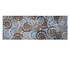 LifeStyle-Mat 100437 Spiralen, rutschfester und waschbarer Läufer, ideal für die Garderobe, Küche oder Schlafzimmer, 67 x 170 cm, grau / braun / beige