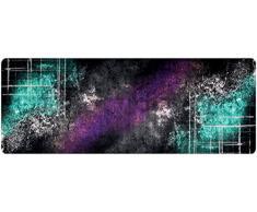 DECO-MAT Rutschfester Teppich-Läufer ohne Rand für den Innenbereich oder Eingangsbereich, 80 x 200 cm, farbspray / turkis -violett