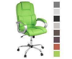 TPFLiving bequemer Premium XXL Bürostuhl Chefsessel Schreibtischstuhl DENVER grün belastbar bis 210 kg hochwertig Kunstleder Wippfunktion stabile Castor Rollen in 8 Farben wählbar