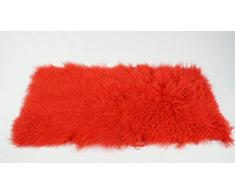 bokke Überwurf aus Tibetlamm, Natürliches Lammfell, Farbe Rot, 60x120cm