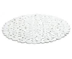 Spirella Duschmatte Anti Rutsch Matte Riverstone antibakteriell rutschfest Rund Ø 57cm - mit Sanitized Hygienefunktion - Weiß - Made in EU