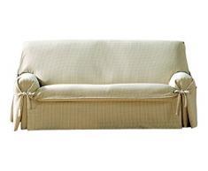 Eysa Sofaüberwurf Giovanna, 2 Quadrate, 100% Baumwolle, Universalbezug, Nicht-elastisch, Beige