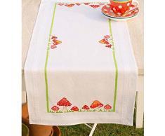 Vervaco Tischläufer Fliegenpilze bedruckte Decke/ Läufer mit Webrand, Baumwolle, Mehrfarbig, 40.0 x 100.0 x 0.30000000000000004 cm, 1 Einheiten