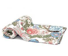 1001 Wohntraum 15S02-1 Quilt Lucy Blumen Ranken Landhaus shabby chic Plaid Tagesdecke Decke, 150 x 200 cm, rose