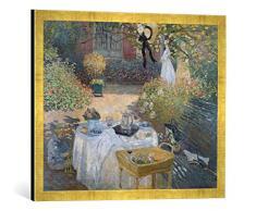 Gerahmtes Bild von Claude Monet The Luncheon: Monets Garden at Argenteuil, c.1873, Kunstdruck im hochwertigen handgefertigten Bilder-Rahmen, 70x50 cm, Gold Raya