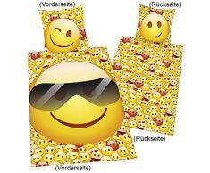 Herding 4459210039 Bettwäsche Young Coll. Emot!x Sonnenbrille, Kopfkissenbezug: 80 x 80 cm + Bettbezug: 155 x 220 cm, 100 % Baumwolle, Linon, Übergröße