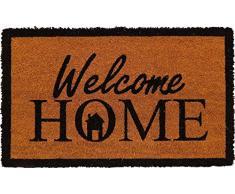 oKu-Tex Fußmatte | Fußabtreter | Türmatte | Eingangsmatte | Raja| Welcome Home | Aufdruck | Kokosmatte Kokos | für außen | rutschfest | 45x75 cm