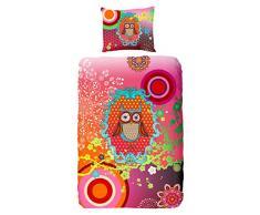 Hip Einzelbett 100 Prozent Baumwolle/Satin Kinder Jollity mit Eule Owl Bettwäsche, Multi Farbe