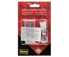Idena Lichterkette mit 10 LED in warm weiß, Batterie betrieben, für Partys, Weihnachten, Deko, Hochzeit, als Stimmungslicht, ca. 1,1 m, transparent