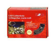 Hellum 555035 LED-Energiespar Lichterkette System Profi Basis-Set, warm-weiß, 80-teilig, Gesamtlänge 9,4 m, für Innen/Außen