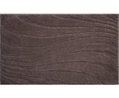 Linea Due 3D Badteppich 100% Polyester, ultra soft, rutschfest, MARRAKESH, Badematte 60x100 cm, kakao