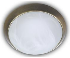 Niermann Standby Deckenleuchte Dekorring Altmessing, Glas/Metall, Alabaster Art, 35 x 35 x 12 cm