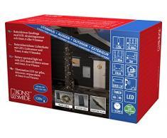 Konstsmide 3769-100 LED Lichterkette/für Außen (IP44) / VDE geprüft/Batteriebetrieben: 4xD 1.5V (exkl.) / mit Lichtsensor, 6h und 9h Timer / 120 warm weiße Dioden/schwarzes Kabel
