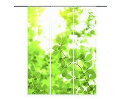 Home Fashion 88512-168 Schiebevorhang Digitaldruck Leaf, 3-er Set, 245 x 60 cm, Dekostoff, grün