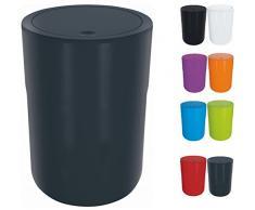 Spirella Design Kosmetikeimer Cocco mit Extra Ring für Müllbeutel Treteimer Schwingdeckeleimer Abfallbehälter mit Schwingdeckel 5 Liter (ØxH): 19 x 26 cm Dunkelgrau