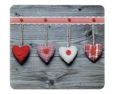 Wenko Multi-Platte Herzen, für Glaskeramik Kochfelder, Schneidbrett, Gehärtetes Glas, 56 x 0,5 x 50 cm, mehrfarbig