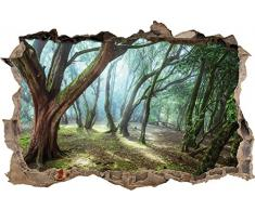 Pixxprint 3D_WD_1984_62x42 Schöne Bäume im Wald Wanddurchbruch 3D Wandtattoo, Vinyl, bunt, 62 x 42 x 0,02 cm