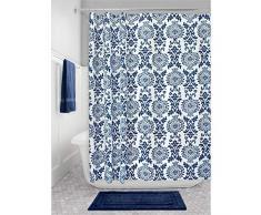 iDesign Damask Duschvorhang | hochwertiger Duschvorhang mit Ösen aus Metall| Designer Duschvorhang in der Größe 183,0 cm x 183,0 cm | Polyester marineblau
